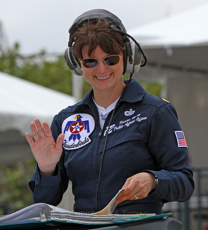 Maj. Kristin Haley of the Thunderbirds Team gets ready to narrate the show.